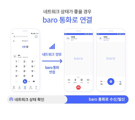 네트워크 상태가 좋을 경우 baro 통화로 연결 / 네트워크 상태 검색 후 네크워크 양호 -> baro 통화 연결
